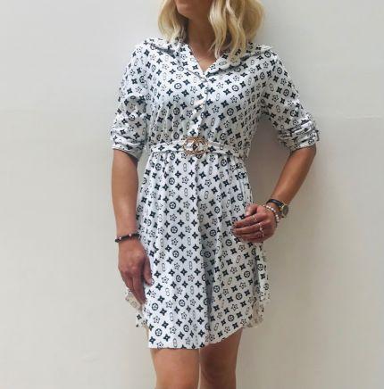 Printed buckle print shirt Dress