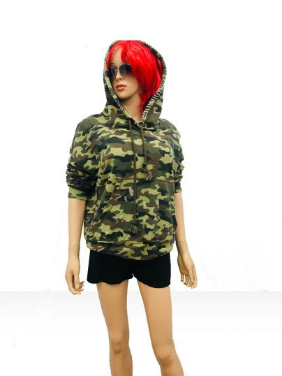 Camouflage casual hood top in slub fleece distressed look