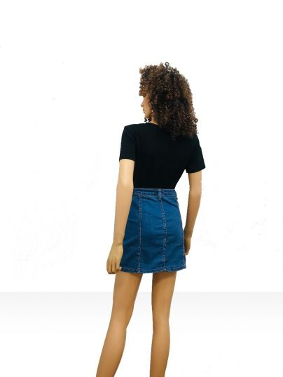 Denim short skirt with front button opening n two front pocket
