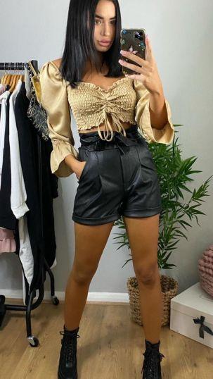 Faux leather paper bag shorts
