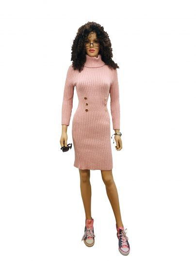 Long Sleeve Polo Neck Jumper knit Dress