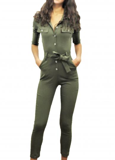 Green Wrap Jumpsuit