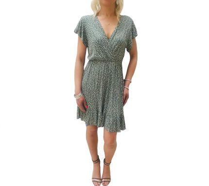 Crossover plunge neck ditsy print dress