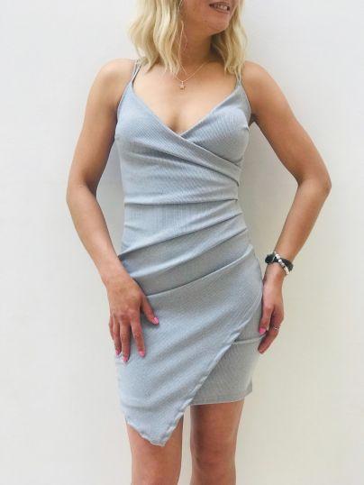 Rib Knit Wrap Dress