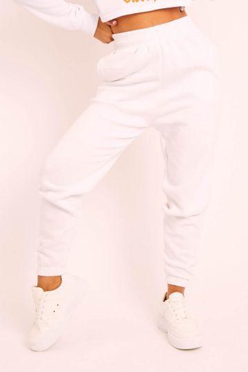 White Elasticated Tie waist Jogger