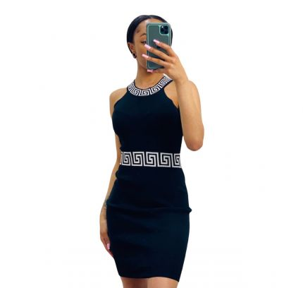 Contrast waist and collar halter neck fitted dress