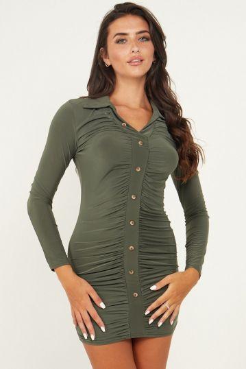 Ruched shirt mini Dress