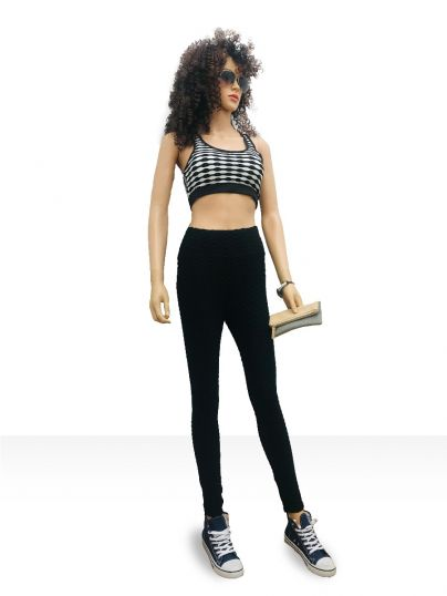 Monochrome Self fabric padded crop top paired top with legging