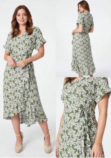 Ruffle wrap multi print midi dress