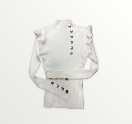 RIB KNIT BUTTON TOP