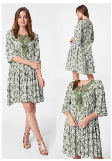 Layered printed cheesecloth swing dress