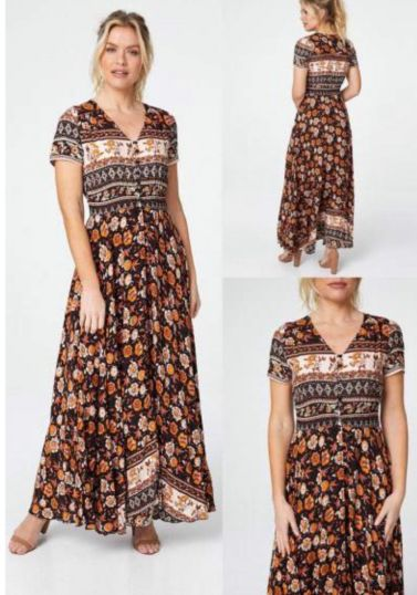 Orange  Flower border Print maxi dress