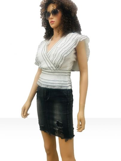 Black denim wash distress look short skirt with 5 pockets