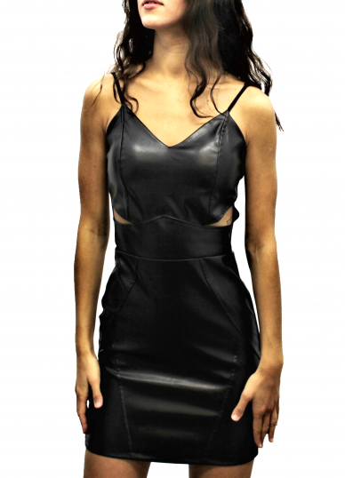 Strappy leatherette dress