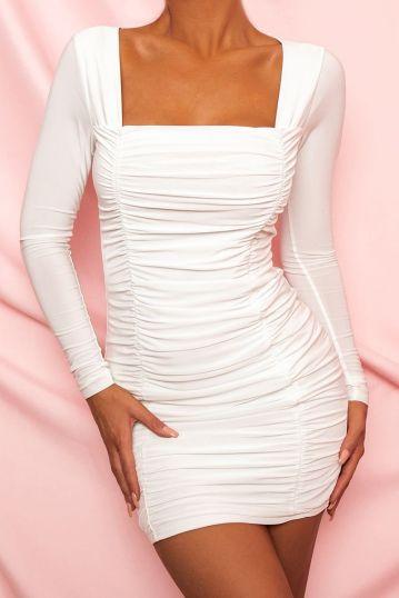 Square Neck Ruched Bodycon mini dress