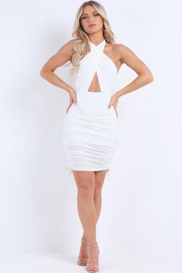 Halter neck ruched dress