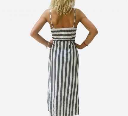 Front knot tie stripe maxi dress