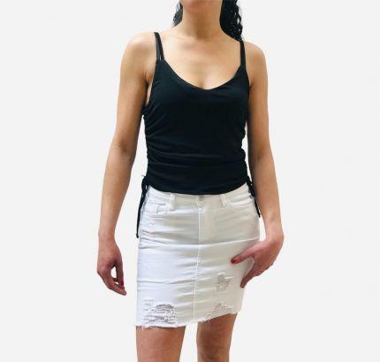 White  five pocket denim Skirt