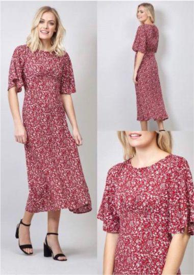 Red multi midi dress