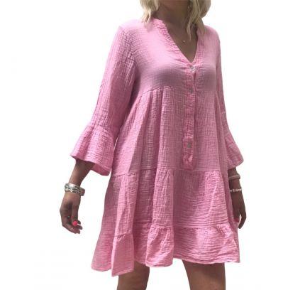 Solid seersucker ruffle dress