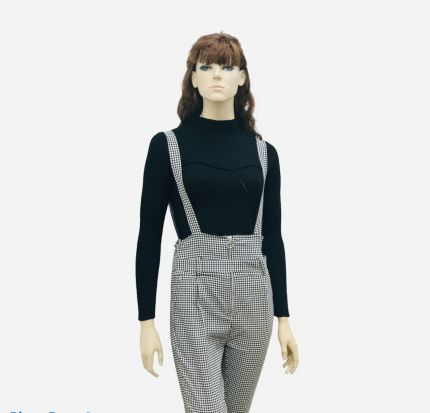 WOMENS CHECK DUNGAREE STRAP  HIGH RISE TROUSER