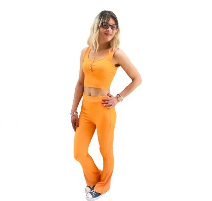 Crop top with Bootleg Trouser yoga pants co-ord set