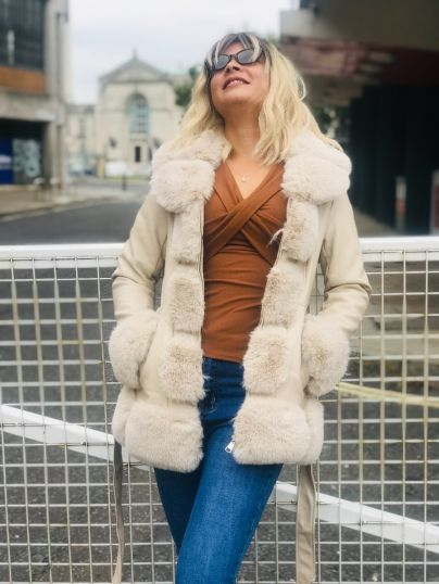 Fur and faux leather Jacket