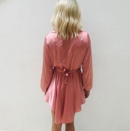 Satin silk buckle belt shirt dress