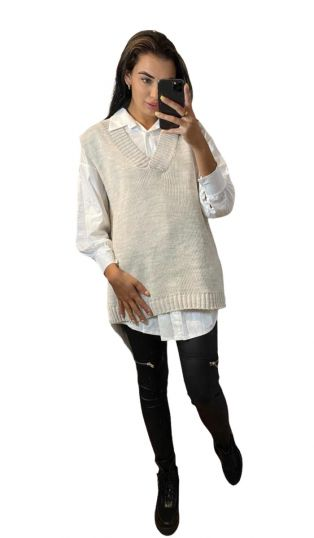 OVERSIZE V NECK KNIT JUMPER-Cream