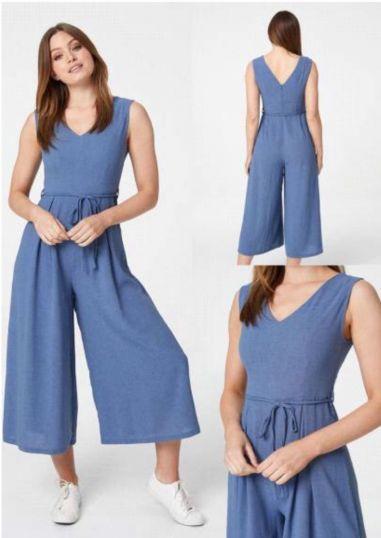 Chic Linen culotte wide leg Jumpsuit.