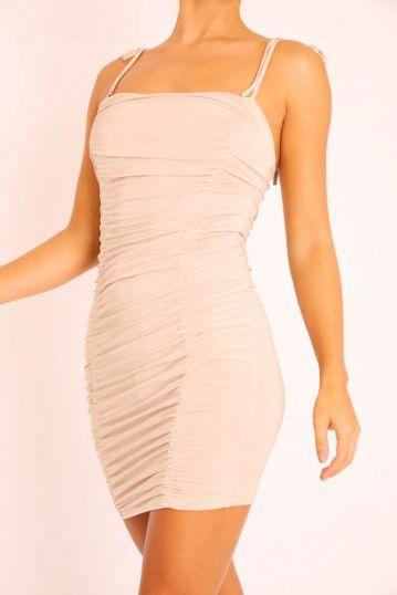 Shoulder Tie Strap Ruched Bodycon Dress