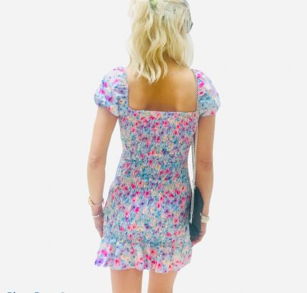 Ditsy print  Shirring mini  dress