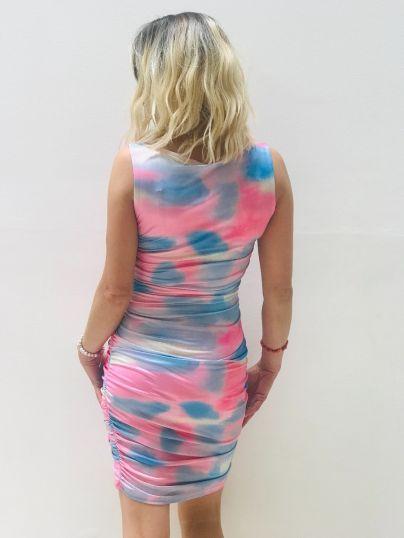 Tie dye multi print ruched dress