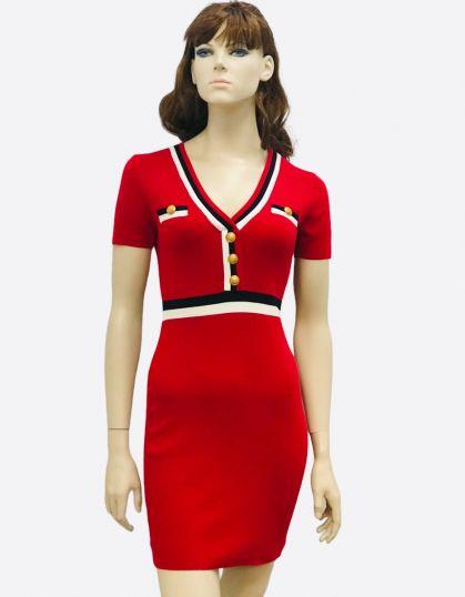 RED V NECK BODYCON DRESS