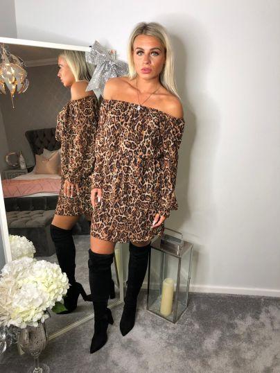 Off Shoulder Animal Print Dress